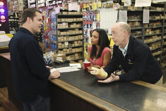 Kyle Bornheimer, Danielle Nicolet, and J.K. Simmons in Family Tools.