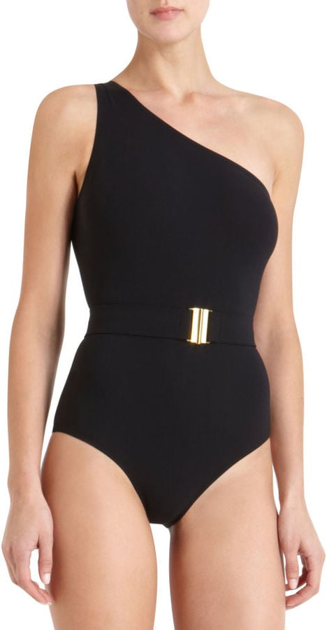 Show off your arms with the asymmetrical shoulder, and flaunt your waist with the sleek belt. Lanvin Belted Swimsuit ($648)