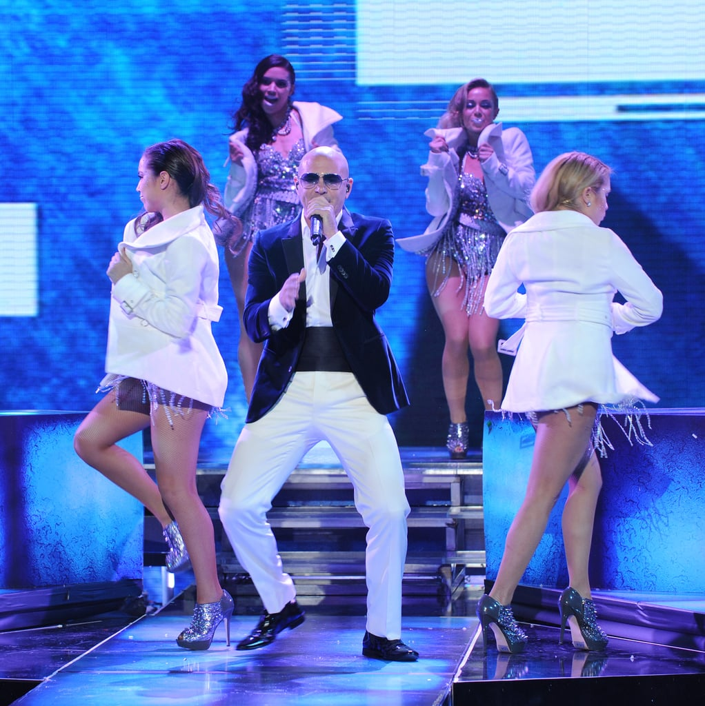 Pitbull gave an energetic performance.