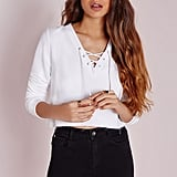 Missguided Lace Up Sweater White ($34)