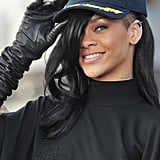 Rihanna posed with a hat over her black hair at a Battleship photocall in Japan.