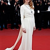 Jessica Chastain wowed at the Cleopatra premiere in a white caped Versace Collection gown, which she finished with a statement Bulgari necklace from Elizabeth Taylor's collection.