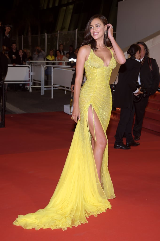 The Thigh-High Slit on Irina Shayk's Atelier Versace Gown