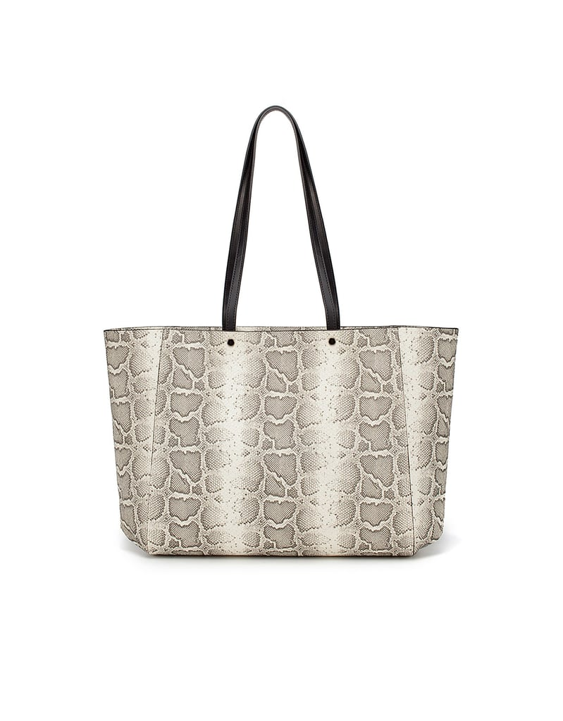 Ditch your heavy leather totes in favor of something easier and way more fun to tote around.  Zara Snakeskin Shopper ($50)
