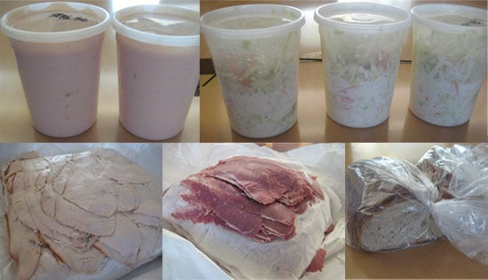 To make Brian's sandwich you need: Russian dressing, cole slaw, deli meat (we used turkey and pastrami), and rye bread.