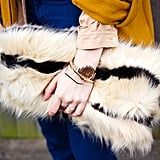 """""""Is that a teddy bear you're holding?"""" """"Nope – it's my cool new clutch."""" Update your bag with this season's material of choice – fluff. Plus, it doubles up a cuddle buddy or a cosy muff a la BCBG catwalk when you're feeling the chill. Pair-back the rest of your outfit and throw in something patent to work that texture mix trend."""