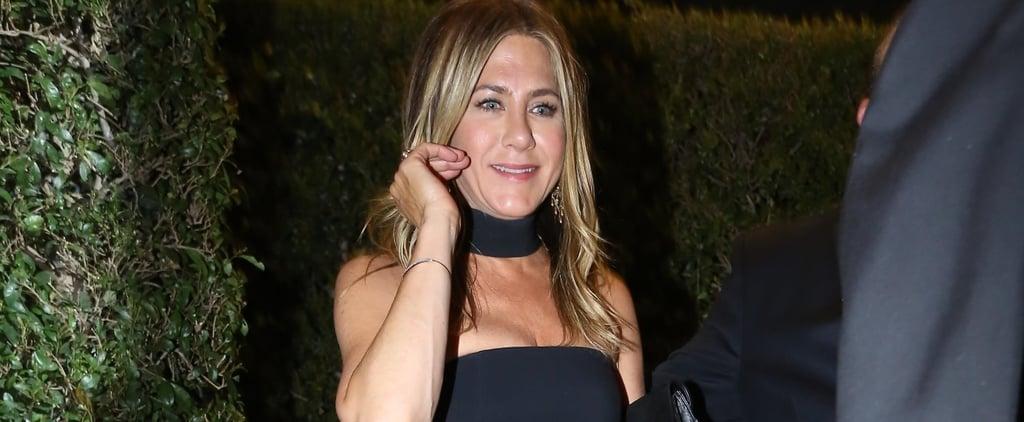 Jennifer Aniston Black Dress at Gwyneth Paltrow's Engagement