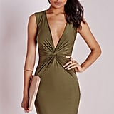 Missguided Slinky Knot Front Plunge Dress Khaki ($50)