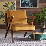 Velvet Mid-Century Accent Chair