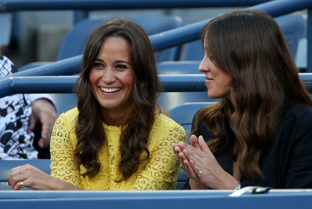 Pippa and a friend take in the men's singles quarter finals at the US Open on September 5, 2012.