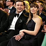 Justin Timberlake and Jessica Biel were affectionate during the show.
