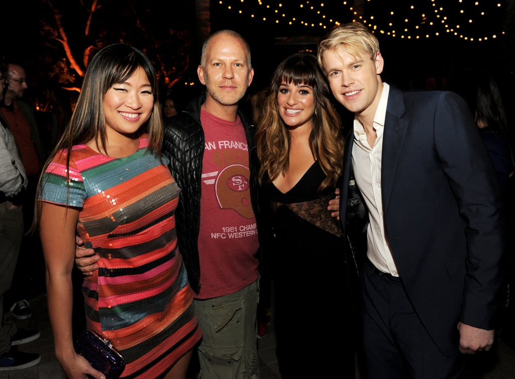 Jenna Ushkowitz, Ryan Murphy, Lea Michele, and Chord overstreet got together for a photo.