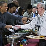 After making his final speech during the pardon of the national Thanksgiving turkey, President Obama headed to the Armed Forces Retirement Home to personally serve Thanksgiving dinner with Michelle.