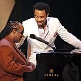 Pictured: Stevie Wonder and John Legend