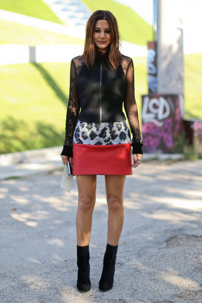 Sheer sleeves and an exotic print took Christine Centenera's miniskirt look to next-level street-chic.