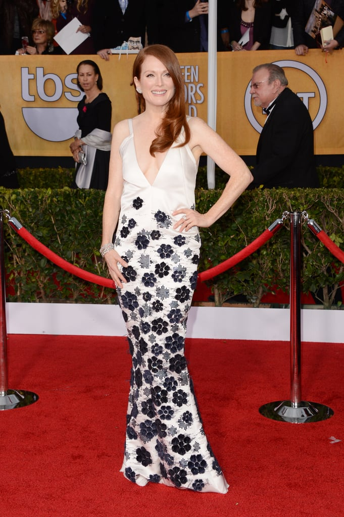 Julianne Moore's white Chanel Haute Couture gown covered in navy flower appliqués was equal parts whimsical and sophisticated.