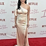 For the screening of Netflix's To All The Boys I've Loved Before, Lana wore a one-shouldered silk gown.