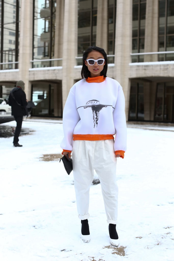 So this is what snowy chic looks like? A crisp white palette played right off the Lincoln Center snowscape.