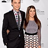 Mayim Bialik and her costar Jim Parsons attended the Emmys cocktail party.