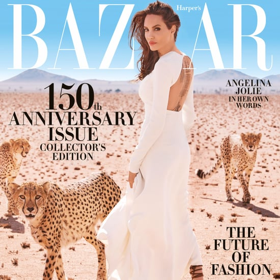 Angelina Jolie's Sandals on Harper's Bazaar Cover 2017