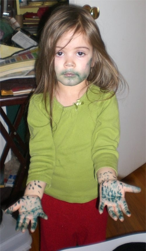 You caught your kid green-handed playing with the markers.