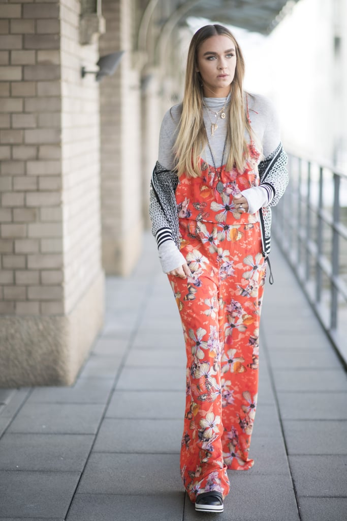 A Bold Printed Jumpsuit With a Turtleneck and Creepers