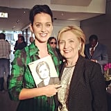 "Katy Perry posed with Hillary Clinton and told her she'd write her a ""theme"" song. Source: Instagram user katyperry"
