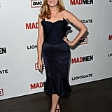Jennifer Westfeldt hit the carpet to support longtime partner Jon Hamm in a sculptural, bustier-style strapless dress.