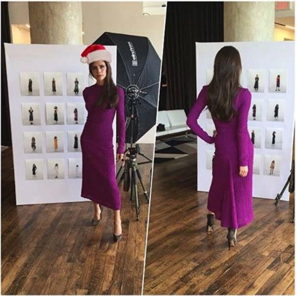 Victoria Beckham Wearing a Knit Purple Dress