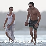 Joe Manganiello and Matt Bomer Playing Football on the Beach