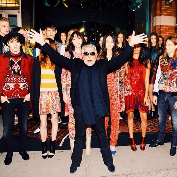 Roberto Cavalli jumped for joy after his Pre-Fall show. Source: Instagram user bfa_nyc