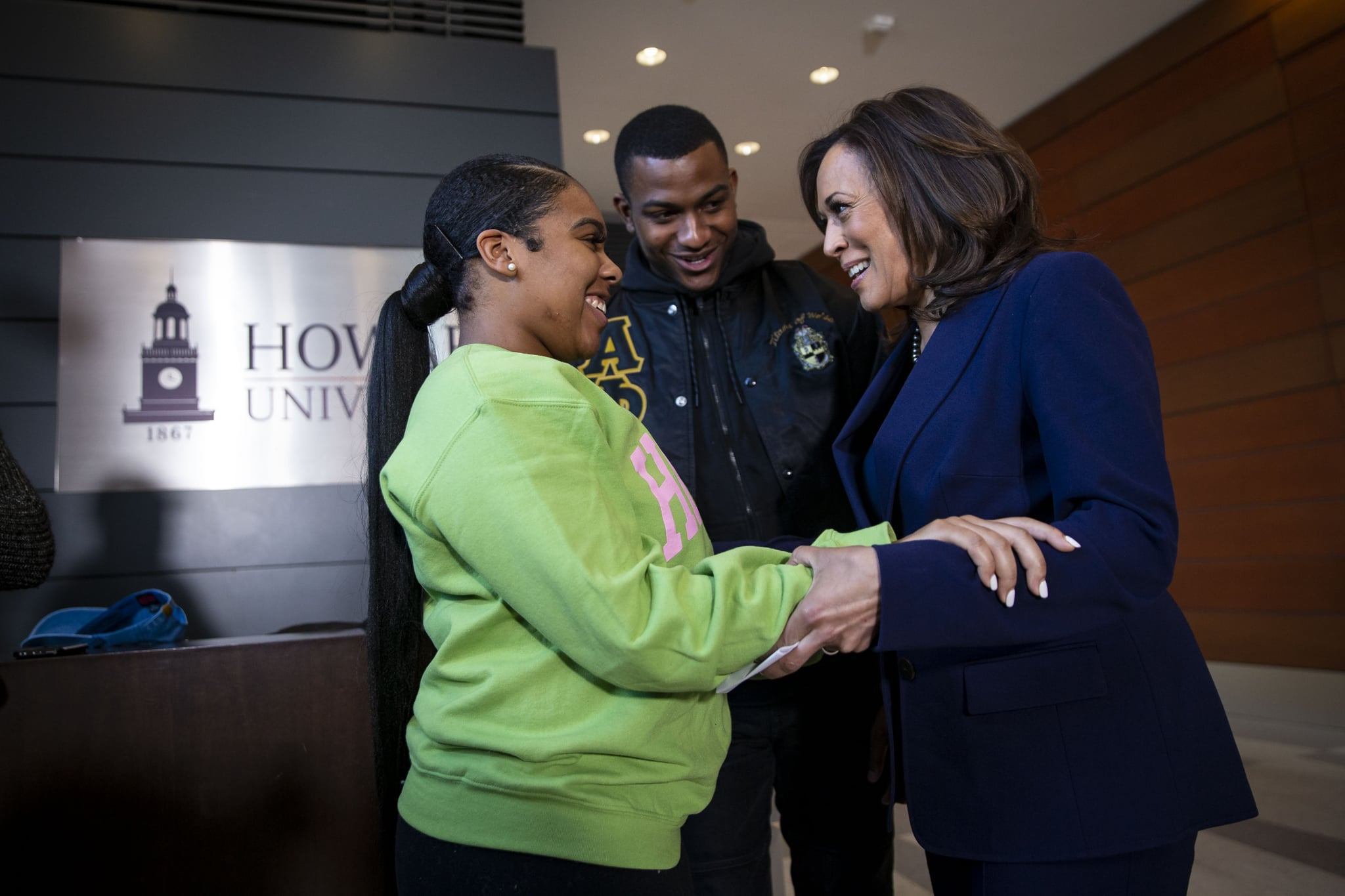 WASHINGTON, DC - JANUARY 21: Sen. Kamala Harris (D-CA) speaks to Amos Jackson III, Executive President of the Howard University Student Association, and Mara Peoples, Executive Vice President, after announcing her candidacy for President of the United States, at Howard University, her alma mater, on January 21, 2019 in Washington, DC. Harris is the first African-American woman to announce a run for the White House in 2020.  (Photo by Al Drago/Getty Images)