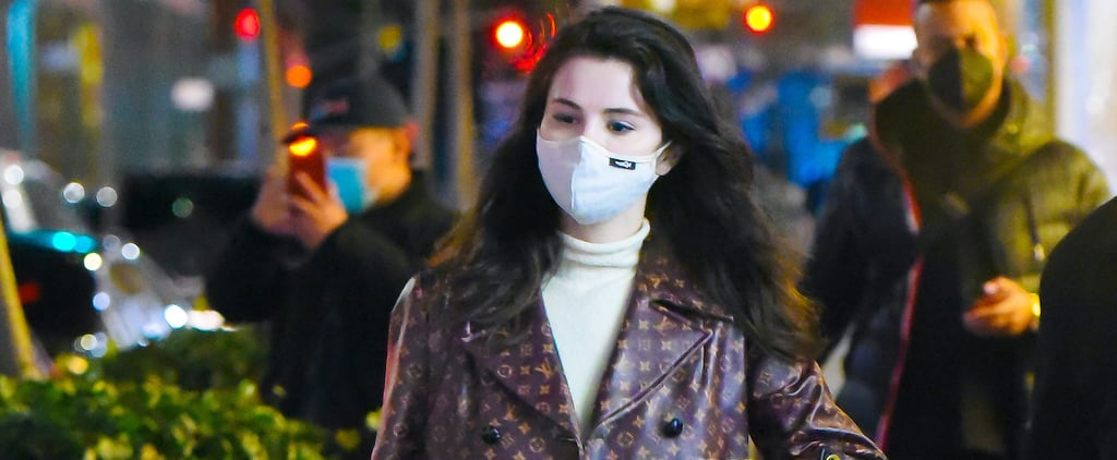 Selena Gomez Wearing Logo-Covered Louis Vuitton Coat in NYC