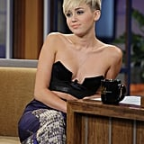 Miley Cyrus wore an Anthony Vaccarello bustier and Moschino skirt.