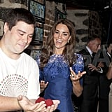 Kate Middleton in Erdem at Maison Dauphine in Quebec City.