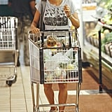 Halle Berry pushed her cart through the aisle.