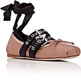 Miu Miu Women's Double Buckle Ankle-Tie Flats-Nude ($620)