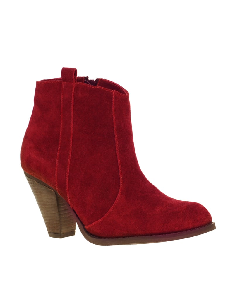 Camel boots are cute, but aren't these red renditions even better?  ASOS Aggie Suede Pull On Casual Heel Ankle Boots ($81)