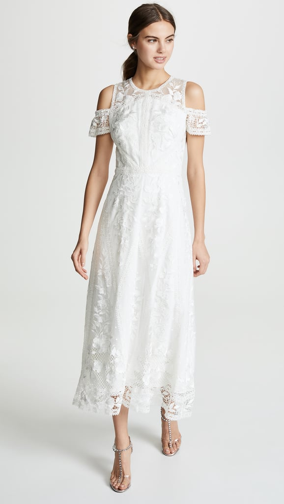 Marchesa Notte Cold Shoulder Lace Dress