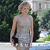 Naomi Watts wore a sequin gown on the set of Caught in Flight.