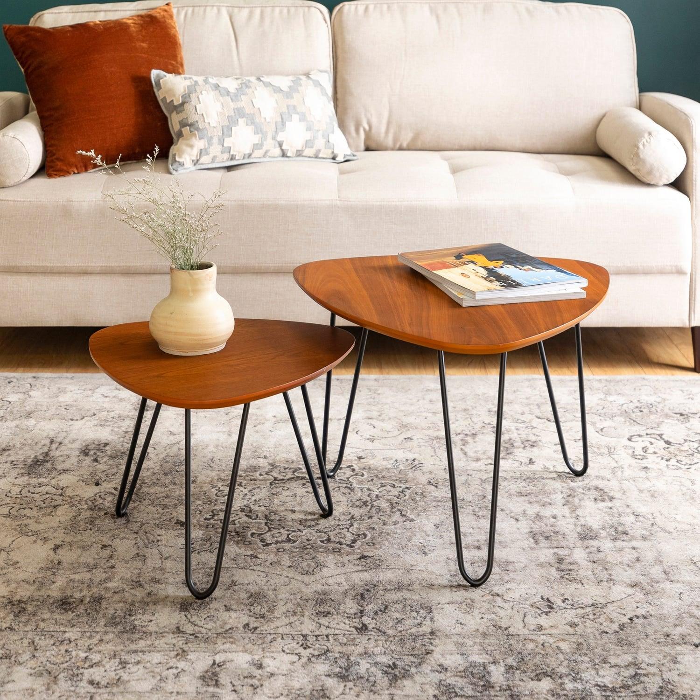 Walnut Hairpin Leg Wood Nesting Coffee Table Set Small Space