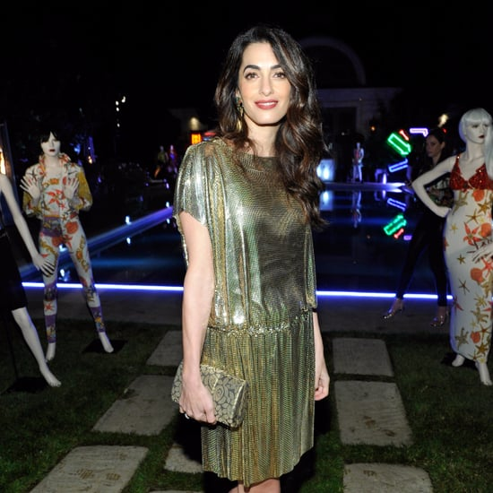 Amal Clooney Wearing Gold Vintage Versace Dress