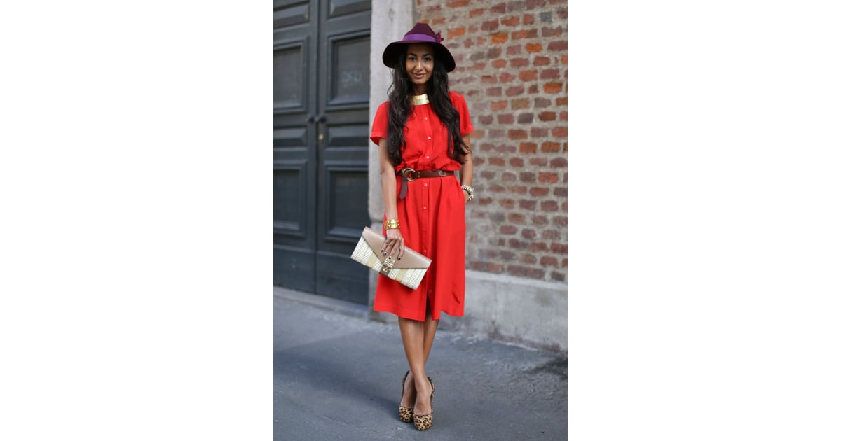 This street-style moment proves that red and purple play ...