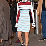 Millie Bobby Brown in a Striped Dress in 2017