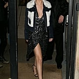 And Finished Off Her Paris Trip With a Flash of Some Angelina-Level Leg