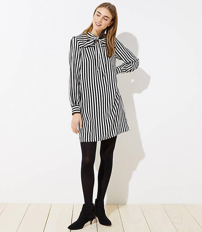 Loft Striped Tie-Neck Dress