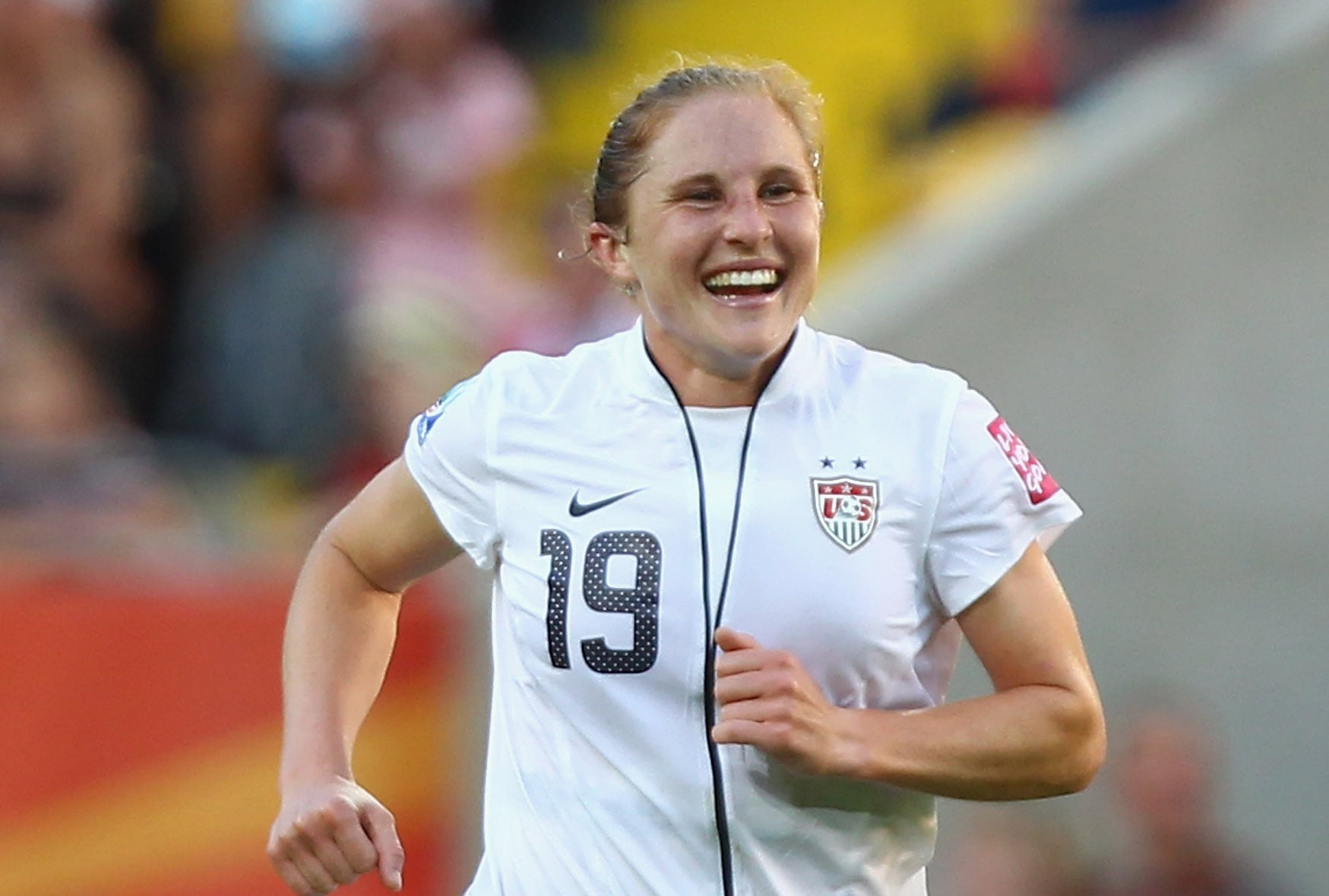 DRESDEN, GERMANY - JUNE 28:  Rachel Buehler of USA celebrates after she scores her team's 2nd goal during the 2011 FIFA Women's World Cup gruop C match between USA and Korea DPR at the Dresden Arena on June 28, 2011 in Dresden, Germany.  (Photo by Martin Rose/Bongarts/Getty Images)