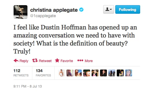 Christina Applegate likes where Dustin Hoffman was going with his revealing interview released this week.