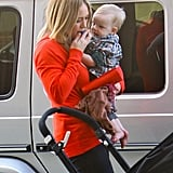 Hilary Duff held onto Luca Comrie's pacifier.
