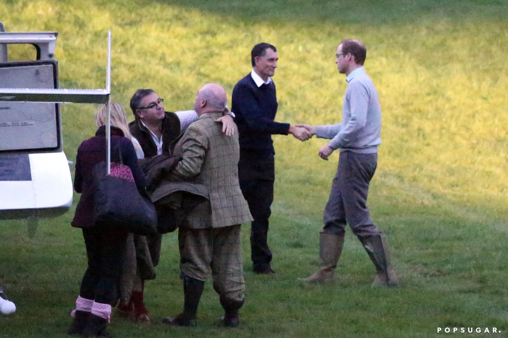 Prince William was greeted at Kensington Palace with a handshake.